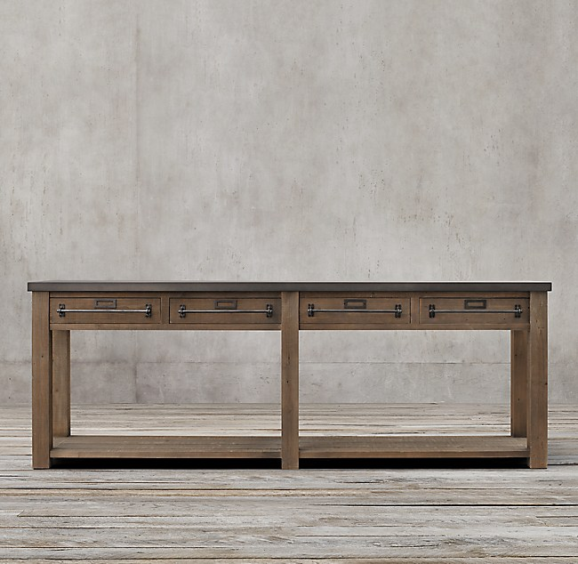 Early 20th C Zinc Top Mercantile Console Table