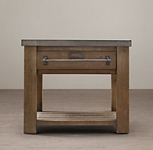 Early 20th C. Zinc-Top Mercantile Side Table
