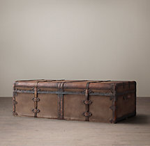 19th C. French Steamer Trunk Coffee Table