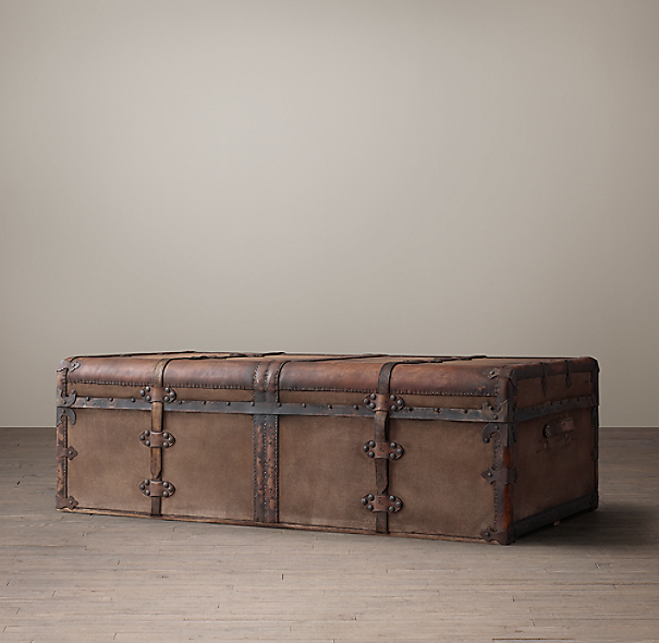 Beige Trunk Coffee Table: 19th C. French Steamer Trunk Coffee Table