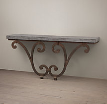 Circa 1940 Iron Scroll & Bluestone Console