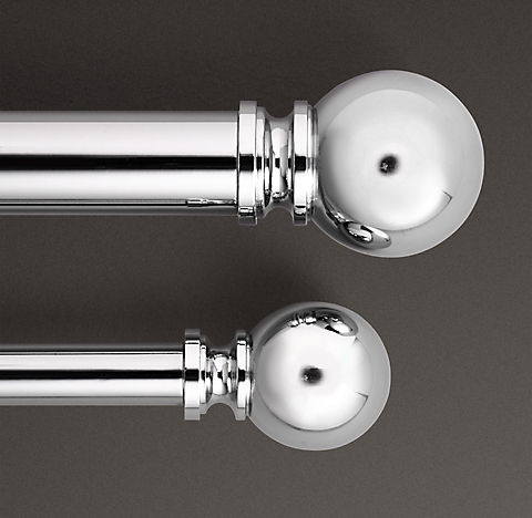 Clic Ball Finial Rod Set Polished Nickel