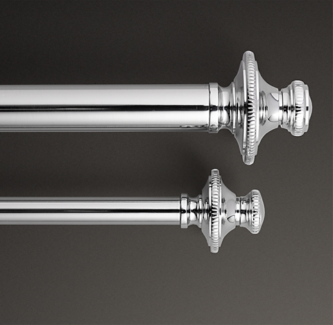 Clic Knurled Finial Rod Set Polished Nickel