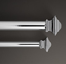 Square Finial & Rod Set - Polished Nickel