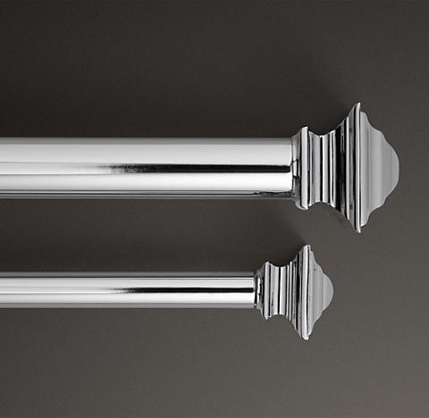 Clic Square Finial Rod Set Polished Nickel