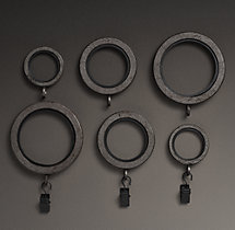 Industrial Hand-Forged Drapery Rings (Set of 7) - Vintage Nickel