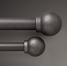 Industrial Hand-Forged Smooth Ball Finials (Set of 2) - Vintage Nickel