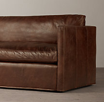 10' Belgian Classic Shelter Arm Leather Sofa