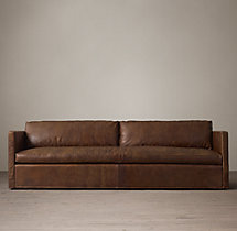 9' Belgian Classic Shelter Arm Leather Sofa