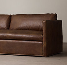 8' Belgian Classic Shelter Arm Leather Sofa
