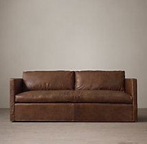 7' Belgian Classic Shelter Arm Leather Sofa