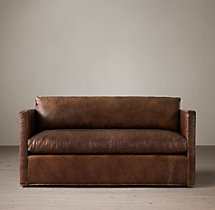 5' Belgian Classic Shelter Arm Leather Sofa
