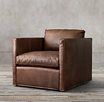 Belgian Classic Shelter Arm Leather Swivel Chair