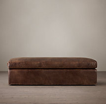 Belgian Classic Shelter Arm Leather Ottoman