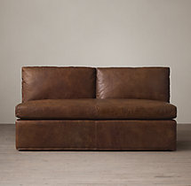 Belgian Classic Shelter Arm Leather Armless Sofa