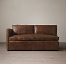 Belgian Classic Shelter Arm Leather Left-Arm Sofa