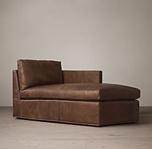 Belgian Classic Shelter Arm Leather Right-Arm Chaise