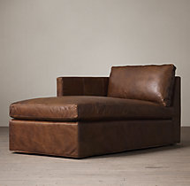 Belgian Classic Shelter Arm Leather Left-Arm Chaise