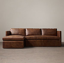 Preconfigured Belgian Classic Shelter Arm Leather Left-Arm Chaise Sectional