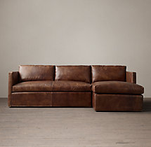 Preconfigured Belgian Classic Shelter Arm Leather Right-Arm Chaise Sectional