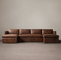 Belgian Classic Shelter Arm Leather U-Chaise Sectional