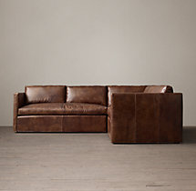 Preconfigured Belgian Classic Shelter Arm Leather Corner Sectional