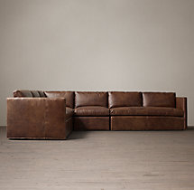 Preconfigured Belgian Classic Shelter Arm Leather L-Sectional