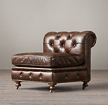 Petite Kensington Leather Armless Chair