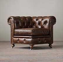 Petite Kensington Leather Corner Chair