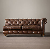 Petite Kensington Leather Right-Arm Sofa