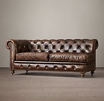 Petite Kensington Leather Left-Arm Sofa