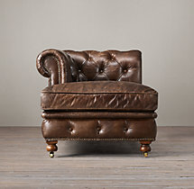 Petite Kensington Leather Left-Arm Chaise