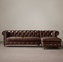 Petite Kensington Leather Right-Arm Chaise Sectional