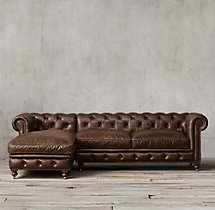 Preconfigured Petite Kensington Leather Left-Arm Chaise Sectional