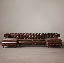 Preconfigured Petite Kensington Leather U-Chaise Sectional