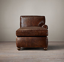 Petite Original Lancaster Leather Right-Arm Chaise