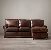 Petite Lancaster Leather Right-Arm Chaise Sectional