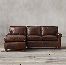 Petite Lancaster Leather Left-Arm Chaise Sectional