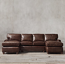 Petite Lancaster Leather U-Chaise Sectional