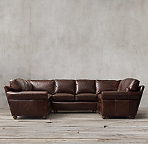 Preconfigured Petite Lancaster Leather U-Sofa Sectional