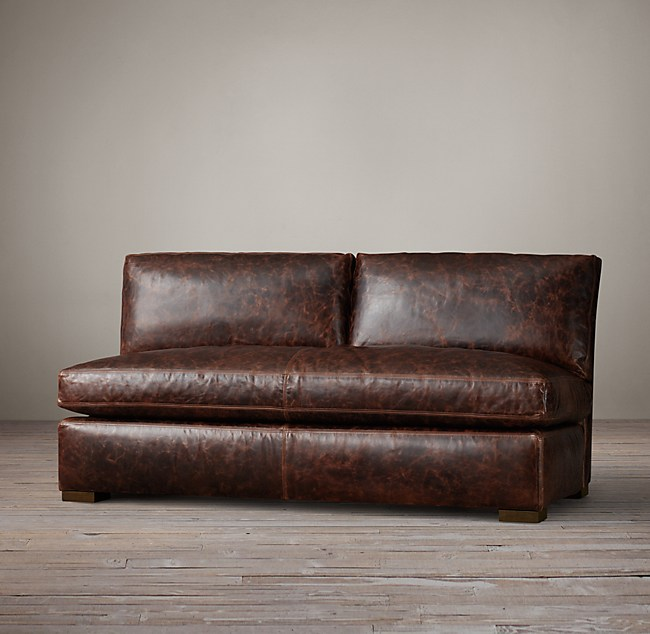 Petite Maxwell Leather Armless Sofa