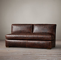 Petite Maxwell Leather Armless Sofa