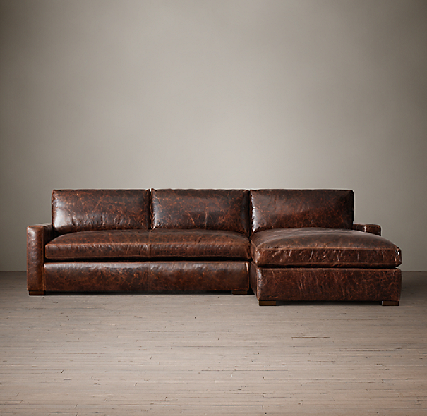 The Petite Maxwell Leather Right-Arm Sofa Chaise Sectional