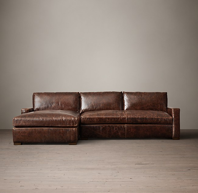 Petite Maxwell Leather Left Arm Chaise Sectional