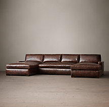 Preconfigured Petite Maxwell Leather U-Chaise Sectional