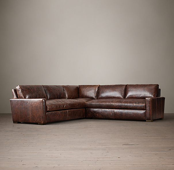 preconfigured petite maxwell leather corner sectional