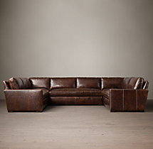 Preconfigured Petite Maxwell Leather U-Sofa Sectional