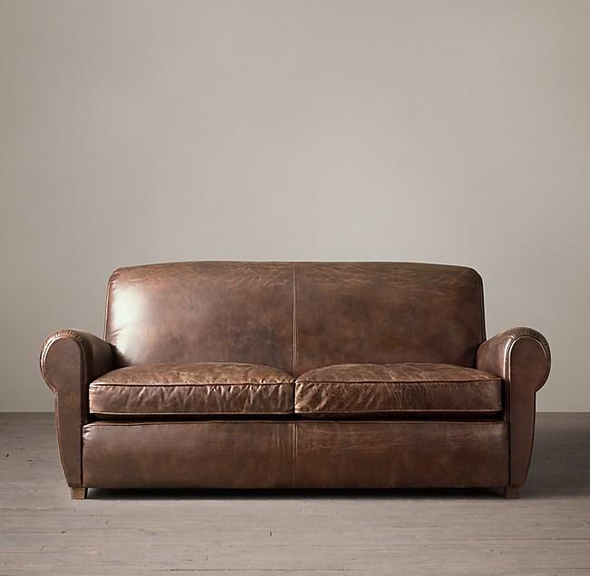 1920s Parisian Leather Club Sofa