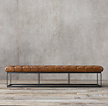 "78"" Tufted Leather & Metal Bench"