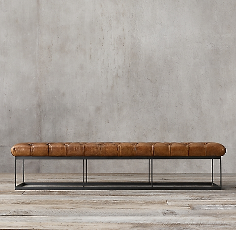 78 Tufted Leather Metal Bench